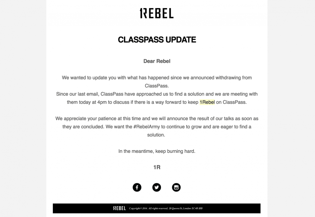1Rebel has been in crisis talks with ClassPass about changes to the model