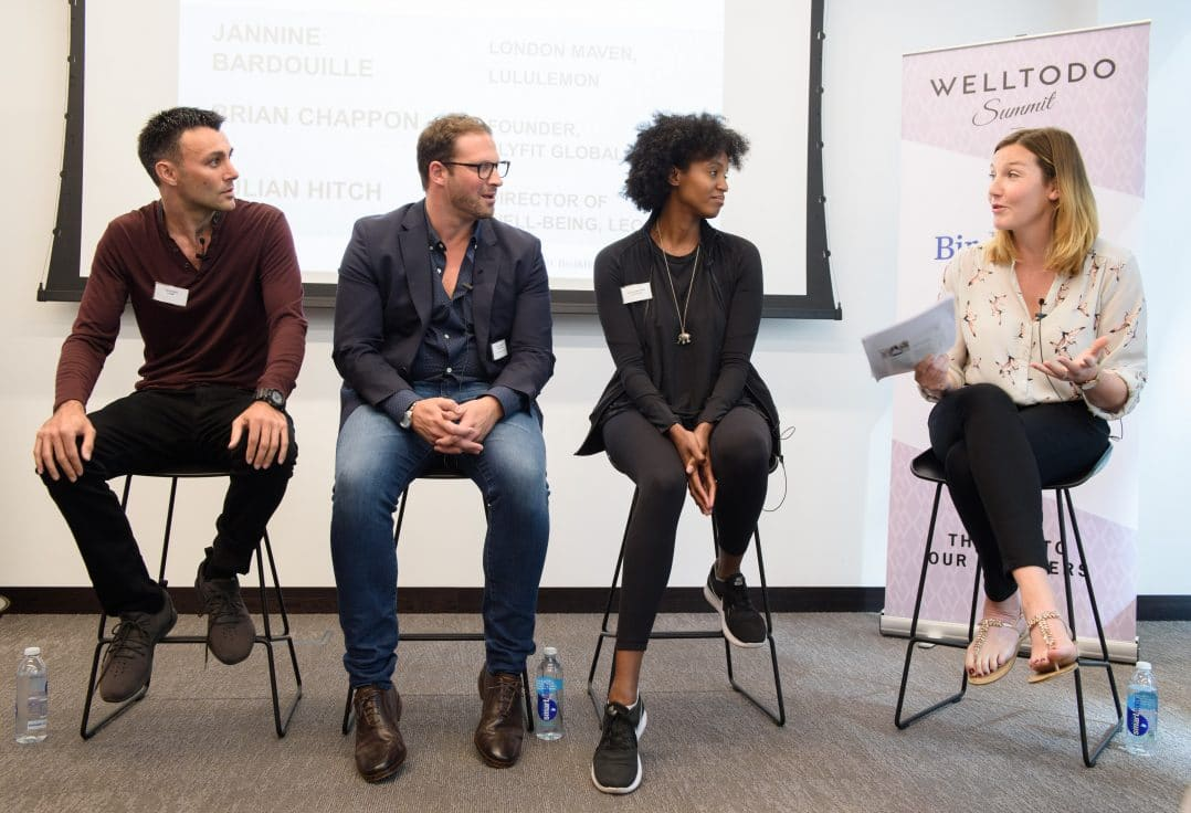 Welltodo Summit 17: Jannine Bardouille – London Maven at Lululemon, Brian Chappon – Founder of Flyfit Global and Julian Hitch – Director of Well-being at Leon