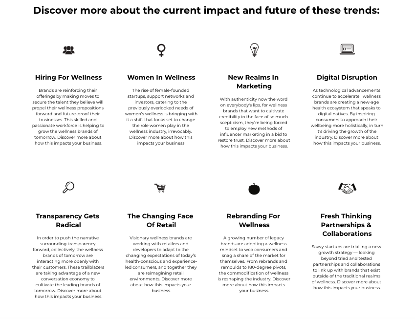 Welltodo's 2019 Business Of Wellness Trends Report; exploring the eight key trends impacting wellness businesses and industry leaders, now and in the future.